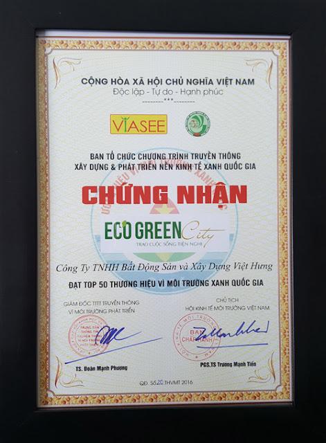 Eco green city đạt chứng chỉ xanh quốc gia