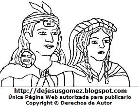 Dibujo de Manco Capac y Mama Ocllo para colorear pintar imprimir de Jesus Gómez
