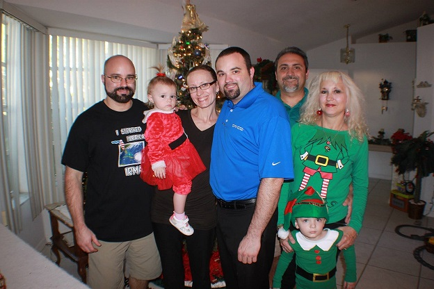 My son Chad, daughterinlaw Jenni with grand daughter Talia, son Curt, husband Nemo, Myself and Antonio my grandson