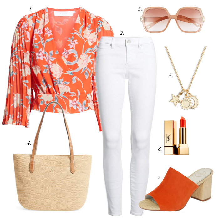 white skinny jeans, spring outfit, red floral blouse, red mules, square sunglasses