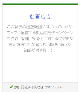 Adwords動画広告の試験に合格しました