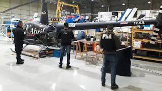 El helicóptero que encontraron en uno de los allanamientos