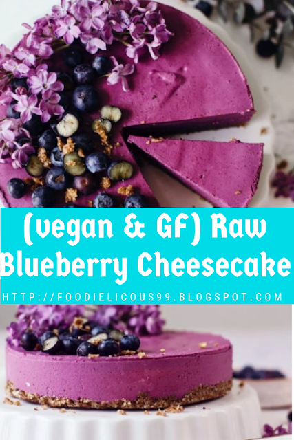 (vegan & GF) Raw Blueberry Cheesecake