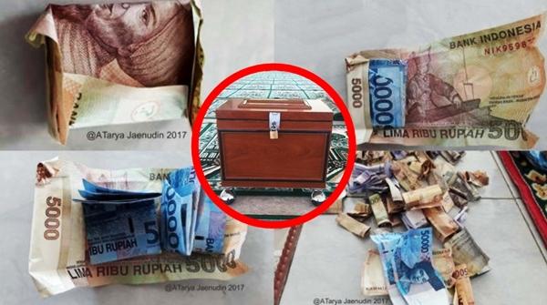 MASYA ALLAH! Tiap Selesai Shalat Jumat, Di Mesjid Ini Selalu Ditemukan Uang Ratusan Ribu Terbungkus Recehan dalam Kotak Amal