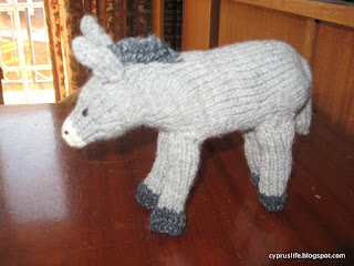 from a different Jean Greenhowe booklet, the knitted donkey for the nativity, Quite tricky in places.