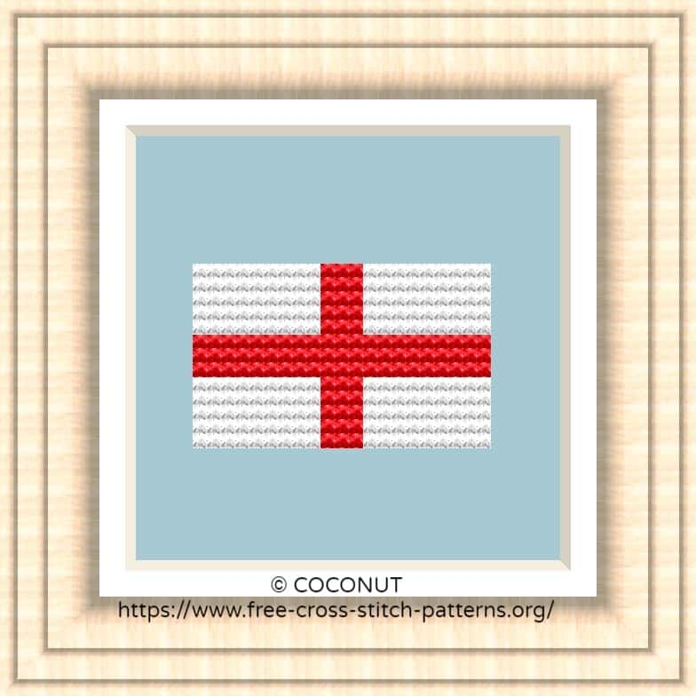 NATIONAL FLAG OF SAINT GEORGE CROSS STITCH CHART
