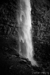 Cramer Imaging's fine art landscape black and white or monochromatic photograph of a waterfall cascading down in Twin Falls Idaho