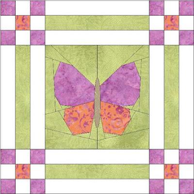 butterfly garden foundation pieced quilt block