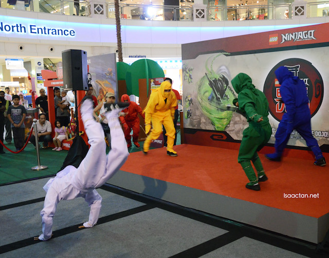 Colourful ninjas performing at the event