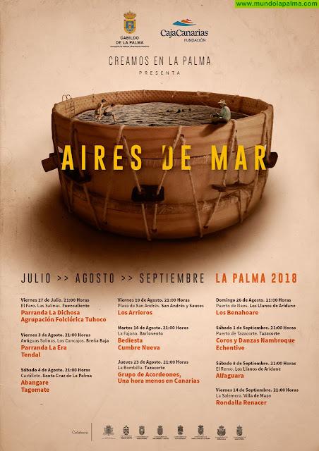 Vuelve el ciclo cultural de música folklórica 'Aires de Mar' 2018 con diez conciertos en varios municipios de la isla