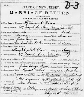 Marriage Document for William A. Dixon and Mary Elizabeth Clyne [Klein] 1883, Elizabeth, NJ. From N.J. State Archives, Trenton.