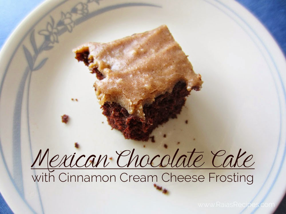 Mexican Chocolate Cake with Cinnamon Cream Cheese Frosting | gluten-free, egg-free | www.RaiasRecipes.com