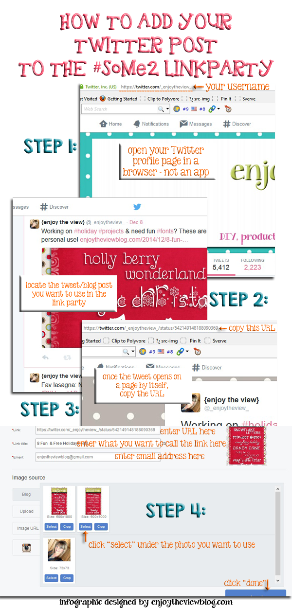 Infographic on how to link up your Twitter post at the #SoMe2 party!