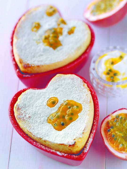 Pink Grapefruit And Greek Yoghurt Soufflé With Passion Fruit