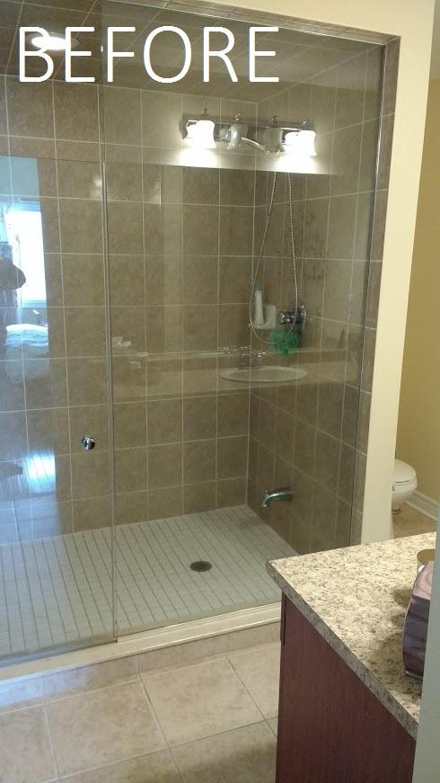 before of master washroom shower stall