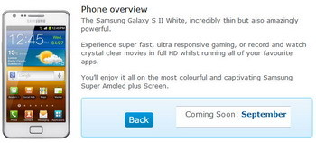White Samsung Galaxy S II coming to O2