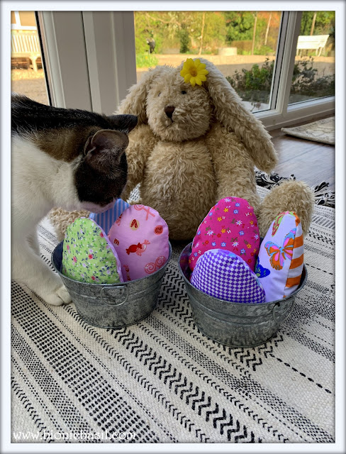 Colouring With Cats #84 ©BionicBasil®  Catnip Easter Eggs with Blossom and Melvyn