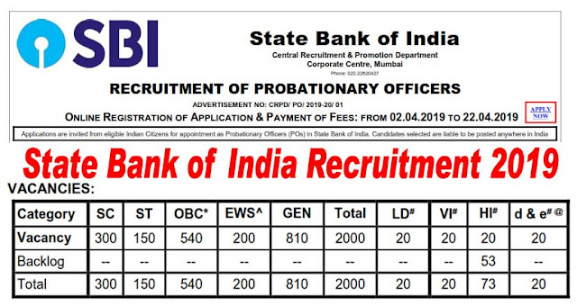 SBI PO Recruitment 2019 for 2000 Probationary Officers (CRPD/ PO/ 2019-20/ 01)