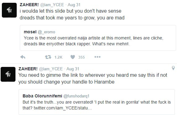 Ycee claps back at two Twitter users for calling him an overrated rapper