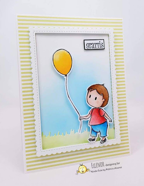 Handmade card using baby and balloon stamp