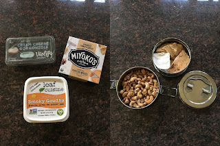 Photo three vegan cheeses (left) and tiffin containers of cashews and vegan cheeses we brought to wine tastings in Napa (right). https://trimazing.com/