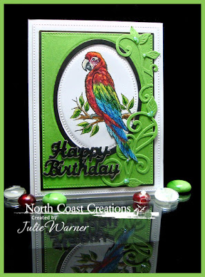 North Coast Creations Stamp: Peaches the Parrot, North Coast Creations Custom Dies: Flourished Vine, Happy Birthday, Our Daily Bread Designs Custom Dies: Ovals, Pierced Ovals, Pierced Rectangles