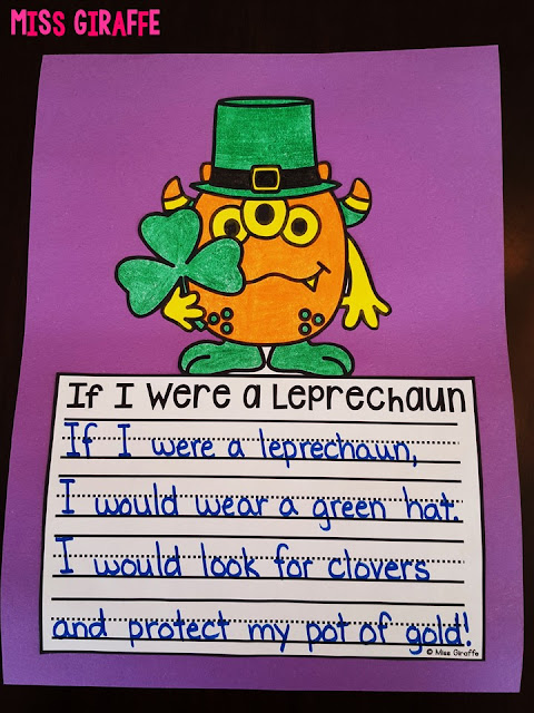 If I Were a Leprechaun writing prompt that makes the cutest no prep craft for a March bulletin board