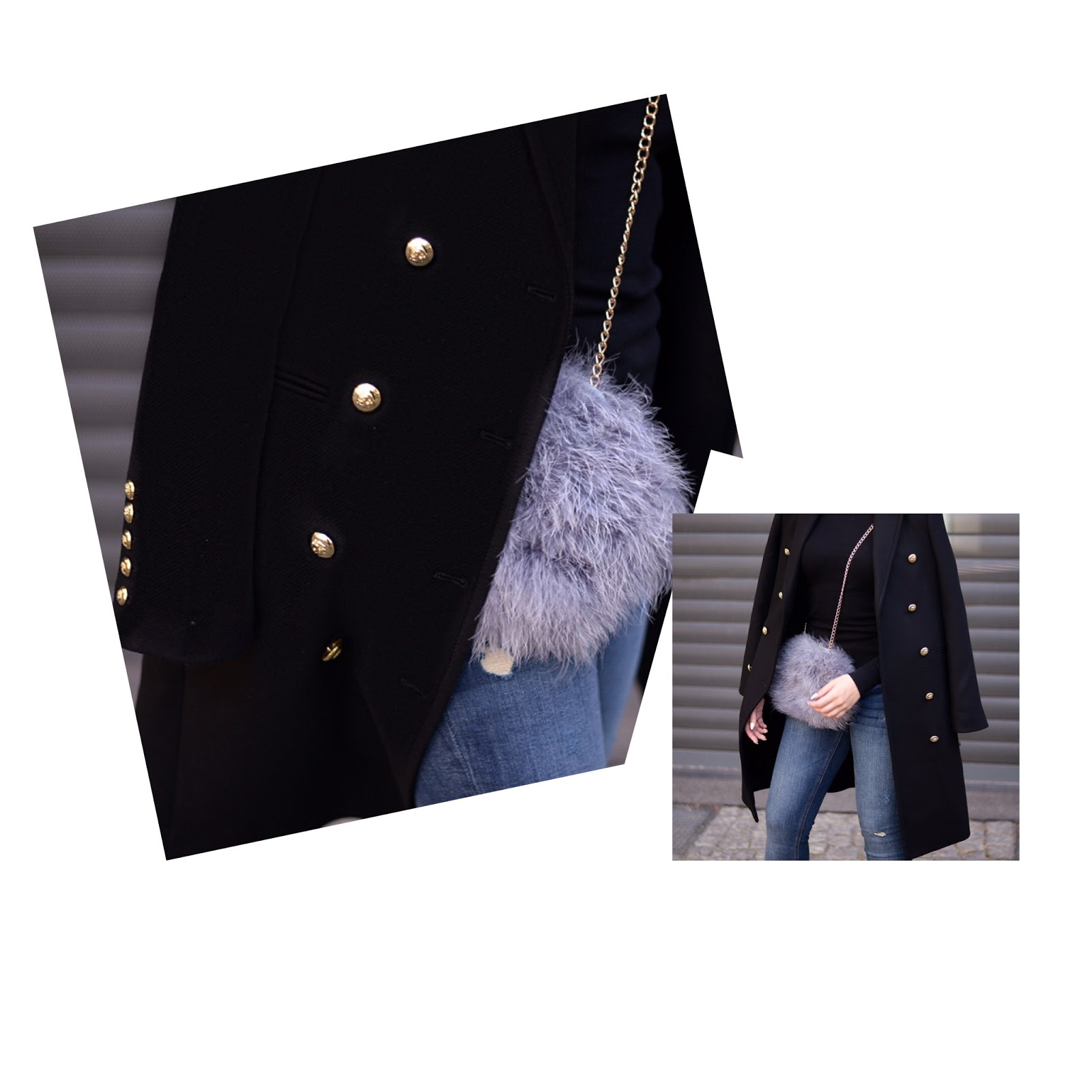 zara long wool coat with gold details