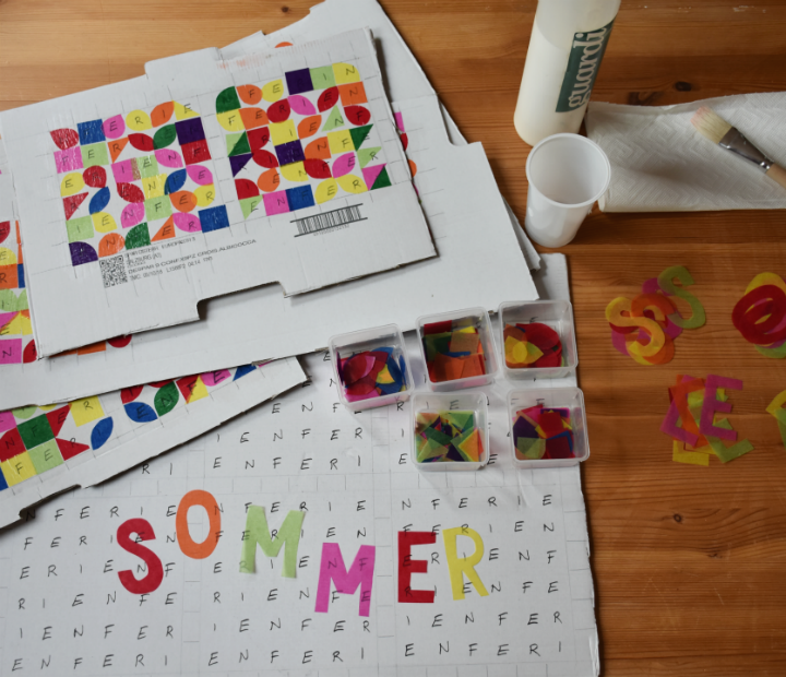 Sommerpost 2018 Collage  TRansparentpapier auf Karton