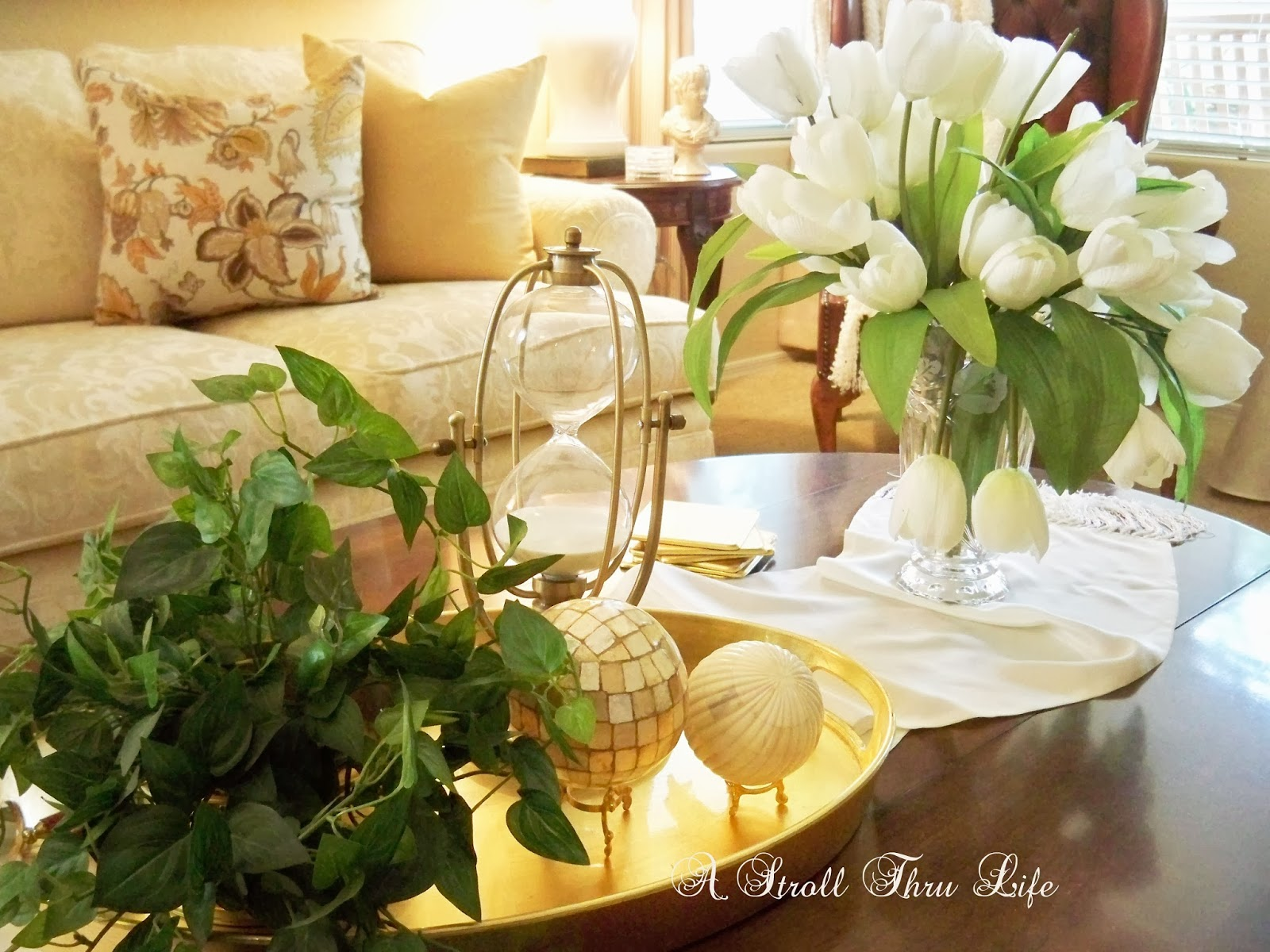 brass marble and tulips vignette # DIY Projects