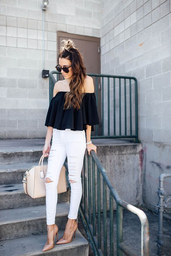 Christine Hello Fashion - Topshop White Jeans, Louboutin Nude Pumps, Off Shoulder Top