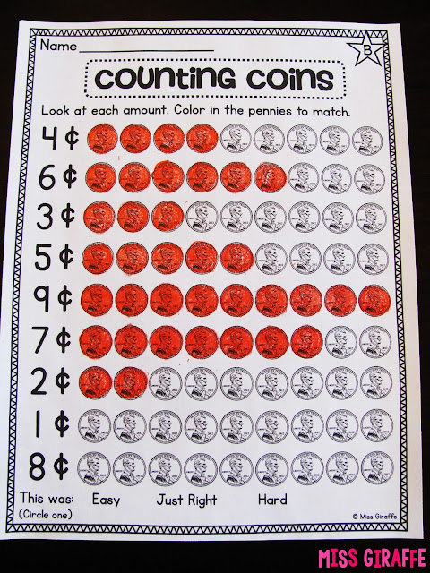Counting pennies worksheets and money activities and games to practice counting money