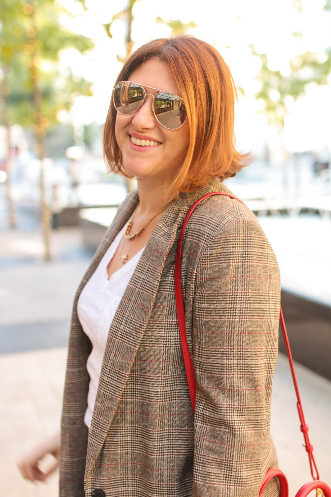 Feminine plaid blazer, Dagne Dover Petite tote poppy, red hair bob, rose gold felize loafers m. Gemi
