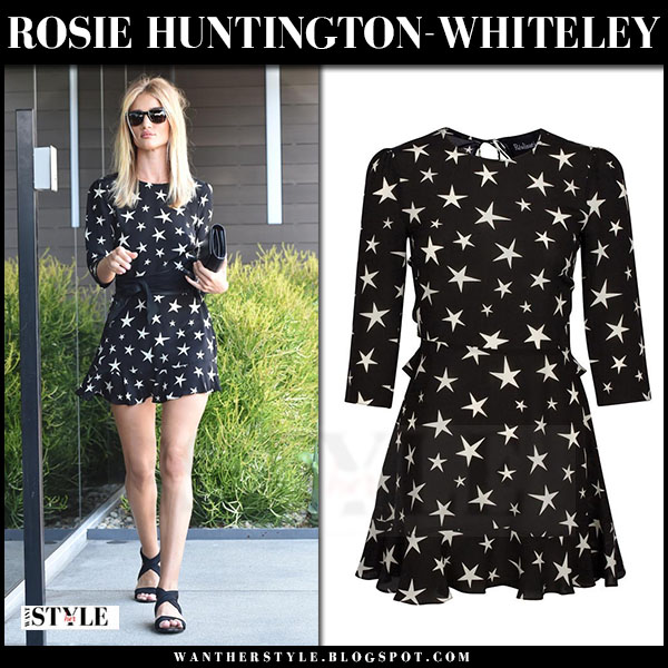Rosie Huntington-Whiteley in black star print mini dress realisation what she wore