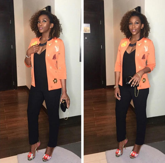 Actress Genevieve Nnaji is adorable as she steps out in orange-on-black