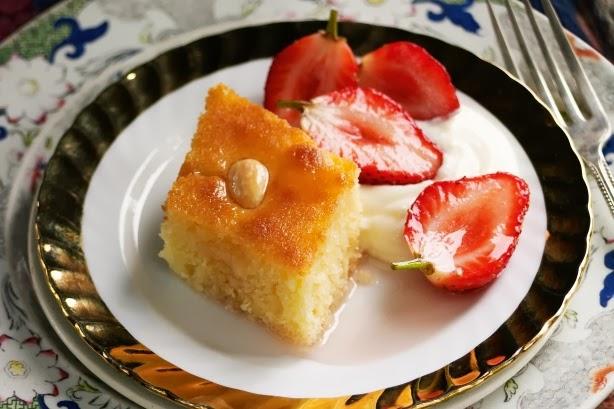 Semolina cake with strawberries in rose syrup (Basbousa