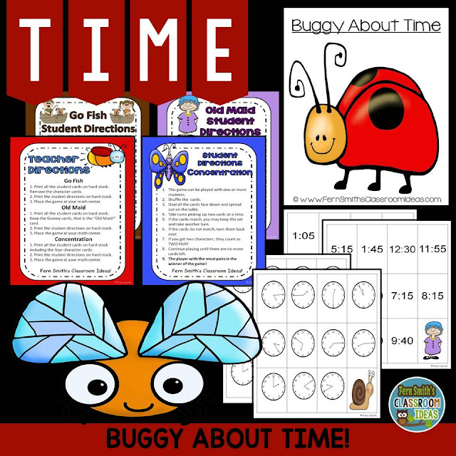 Fern Smith's Classroom Ideas Buggy About Time to the Five Minutes Center Game at TeacherspayTeachers.