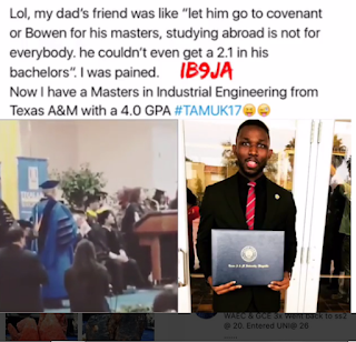 MOCKED NIGERIAN MAN GRADUATES WITH PERFECT CGPA IN USA