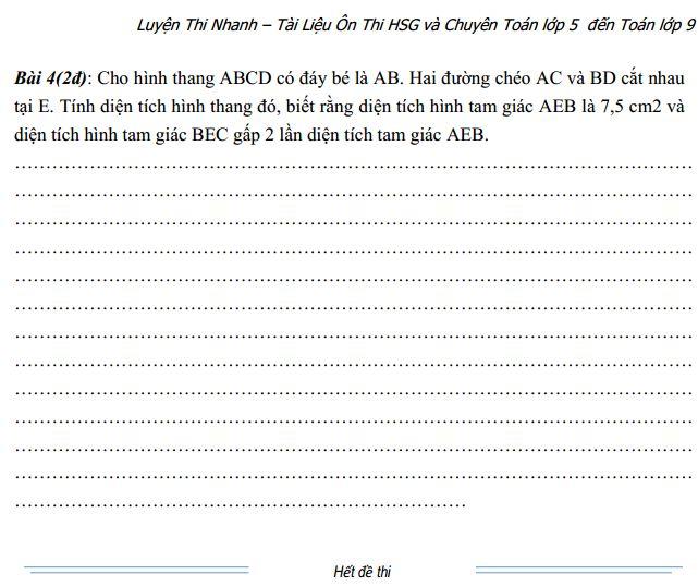 [Đề thi toán lớp 5 - Đáp án] Đề ôn tập toán lớp 5 nâng cao số 002 Trung bình - Khá