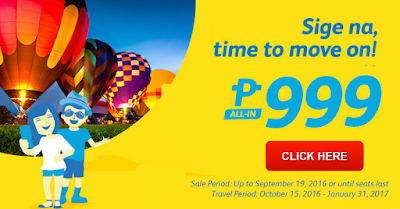 Cebu Pacific Promo from January to March 2017