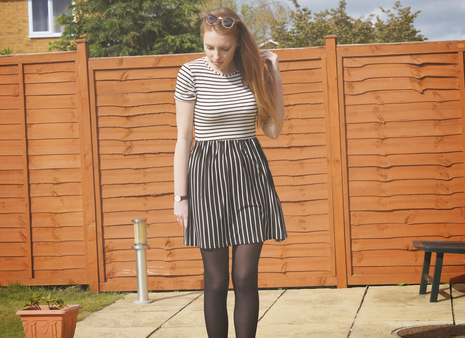 MOOCHROME STRIPEY MISSGUIDED SKATER DRESS