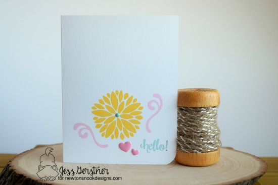 Hello Floral card by Jess Gerstner | Fanciful Florals Stamp set by Newton's Nook Designs #newtonsnook