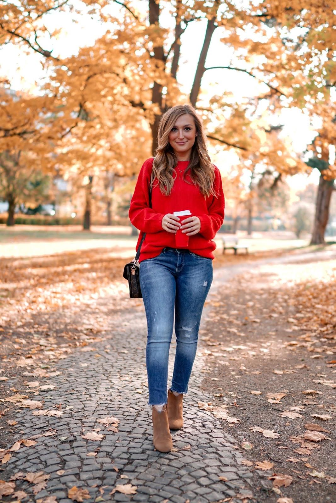 Roter-pullover-conleys-Louis-vuitton-metis-fashionblogger-Herbstoutfit-braune-lederjacke-braune-lederbooties-braune-Boots-stiefeletten-in-braun