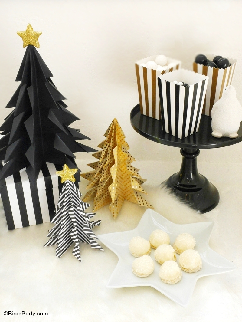 Wonderful Black And White Christmas Party Ideas Part - 12: Black U0026 Gold, Geometric Christmas Holidays Tablescape - BirdsParty.com