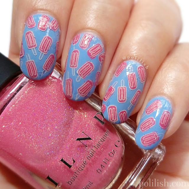 Popsicle / ice pop nail art with reverse stamping, by polilish
