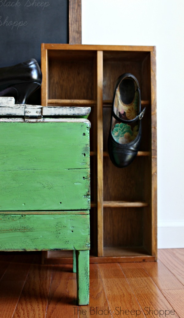 Vintage shoe shine box painted with Chalk Paint.