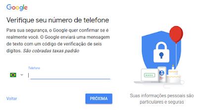 Código de verificação do E-Mail Google Gmail