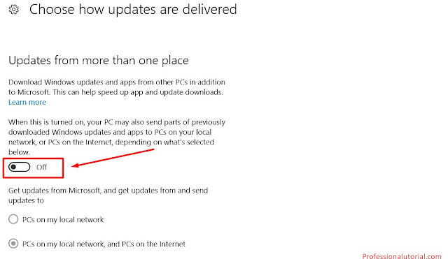 Choose how updates and delivered off