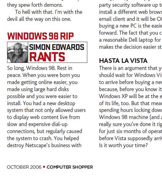 Simon PG Edwards: Retro: Windows 98 end-of-life