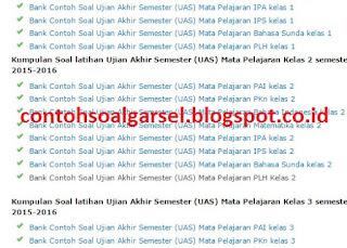 Kisi Kisi Soal UAS SD/Mi Semester 1 2016/ 2017 - Bahan Latihan
